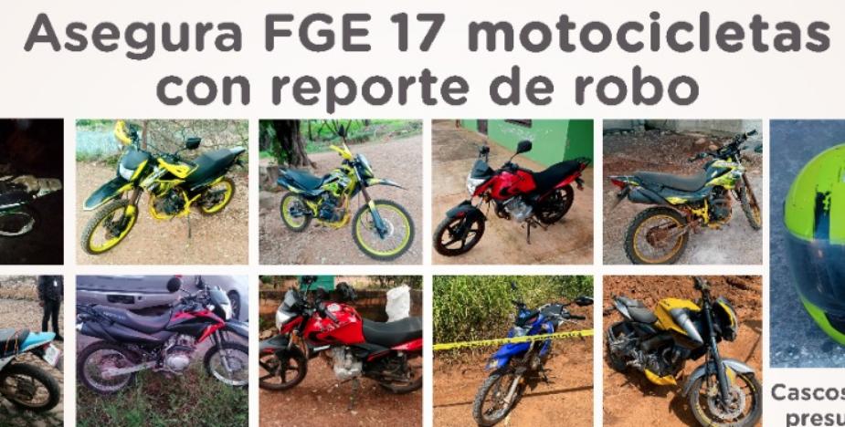 Asegura Fiscalía de Nayarit 17 motocicletas con reporte de robo durante operativo en Tepic